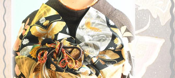 ~お振袖の帯結び~飾り紐を付けたアレンジ